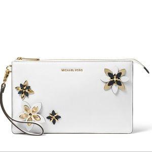 Michael Kors Daniela Flowers Leather Wristlet Lrg